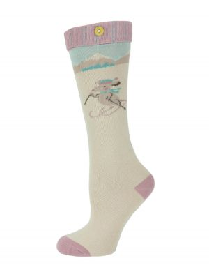 Girls Skiing Mouse Long Socks in Cream from Powder