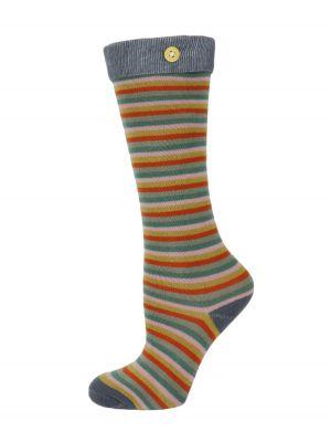 Girls Multi Coloured Long Striped Socks from Powder