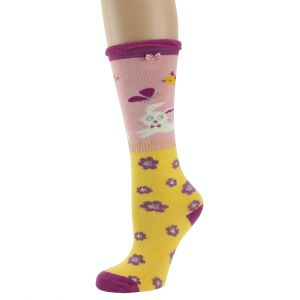 Girls Long Leaping Bunny Socks in Yellow from Powder