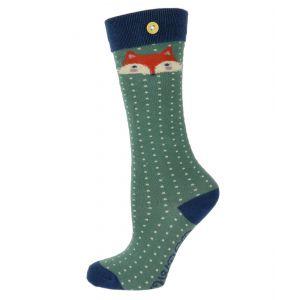 Girls Fox Long Socks in Green from Powder