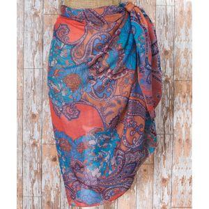 Ladies Blue Paisley Print Sarong from Powder